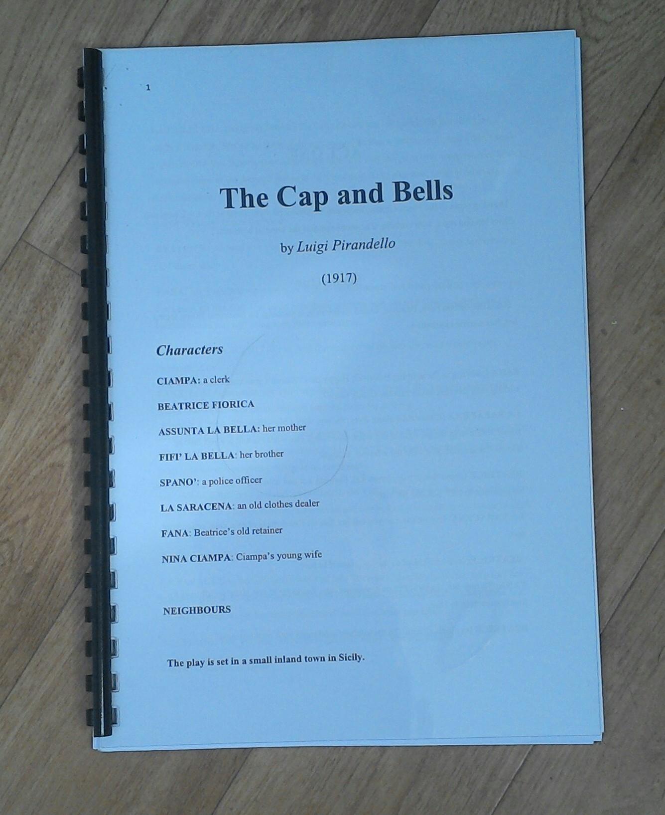 Photo of the Cap and Bells script
